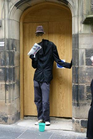 Edinburgh, Scotland, UK - August 19, 2011: Street Entertainer portraying an invisible man at the Edinburgh Festival.