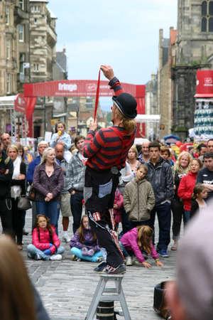 Edinburgh, Scotland, UK - September 18, 2011: Male street entertainer at the Edinburgh Festival. Editorial