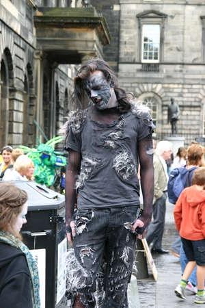 Edinburgh, Scotland, UK - September 18, 2011: Street Entertainer posing at the Edinburgh Festival.