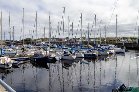 Nairn, Highlands, Scotland, UK - June 01, 2016: View of Nairn harbour in the Highlands of Scotland showing moored yachts. Editorial