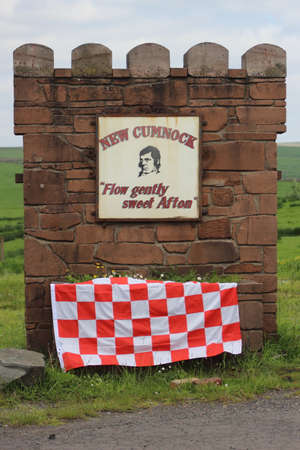New Cumnock, East Ayrshire, Scotland, UK - June 01, 2014: The New Cumnock sign that was decorated for the Scottish Junior Cup Final.
