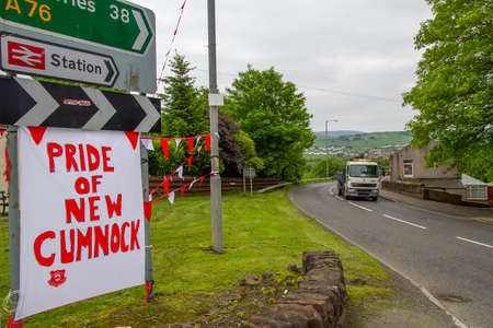 New Cumnock, East Ayrshire, Scotland, UK - May 30, 2014: A sign supporting New Cumnock's Glenafton football team in advance of the Scottish junior cup final.