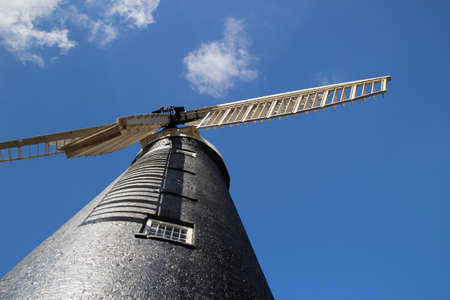 Looking up at the Waltham Windmill near Grimsby, North East Lincolnshire, England.