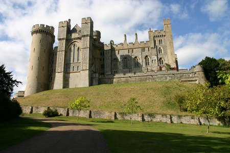 Arundel, West Sussex, England, UK - June 01, 2015: Looking up towards Arundel Castle on a sunny day.