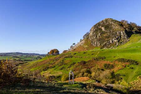 Loudoun Hill and The Spirit of Scotland Monument near Darvel, East Ayrshire, Scotland, United Kingdom.