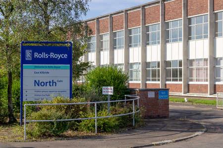 East Kilbride, South Lanarkshire, Scotland, UK - September 08, 2014: Sign at one of the Rolls-Royce aero-engine plant entrances in East Kilbride, Scotland