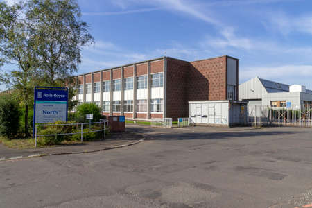 East Kilbride, South Lanarkshire, Scotland, UK - September 08, 2014: The Rolls-Royce aero-engine plant in East Kilbride, Scotland. Editorial