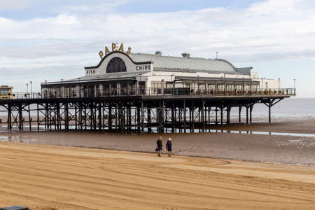 Cleethorpes, North East Lincolnshire, England, UK - August 18, 2020: The Papas restaurant on Cleethorpes Pier in North East Lincolnshire.