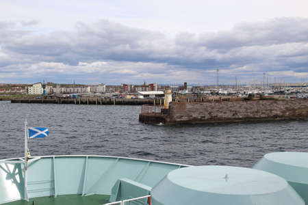 Aboard the Arran ferry approaching the Ardrossan ferry terminal in North Ayrshire, Scotland, UK.