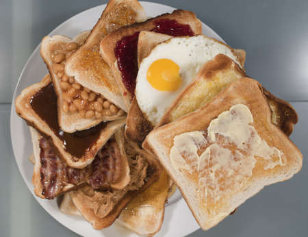 Stack of toast showing the 10 most popular toppings photo