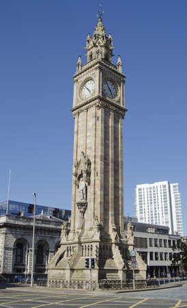 ireland: The historic sandstone Gothic clock tower was built in 1865 as a memorial to Queen Victorias consort, Prince Albert in Queens Square Belfast. It is one of Northern Irelands most famous landmarks.