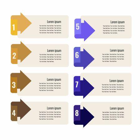 Infographics design template with eight colorful arrows for bisness presentation. Flat illustration. Standard-Bild - 127864411