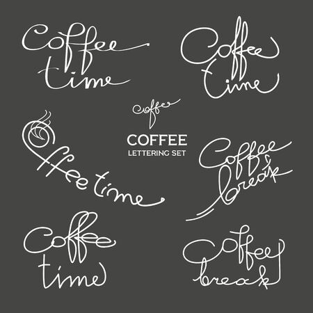 Coffe time. Hand written lettering for coffe shop, restaurant menu and cards. Standard-Bild - 127864499