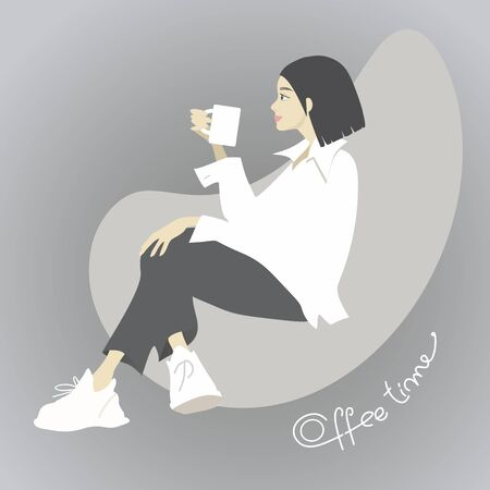 Cute hipster girl sitting in armchiar and drinking coffee. Cartoon character and handwritten letters. Standard-Bild - 127864500