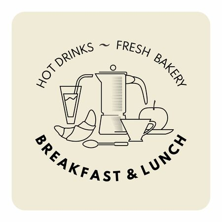 Breakfast and lunch decorative composition in outline style for cafe and restaurant banner,menu. Coffe pot, juice, cup, kruassan, spoon,apple and typography. Standard-Bild - 127864508