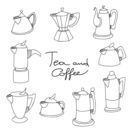 Set of tea pot and coffee pot doodles. Hand drawn sketches collection. Vector illustration. Standard-Bild - 127864507
