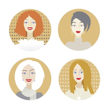 Set of girl portraits.Different characters and hairstyles. Cartoon illustration. Standard-Bild - 127864512