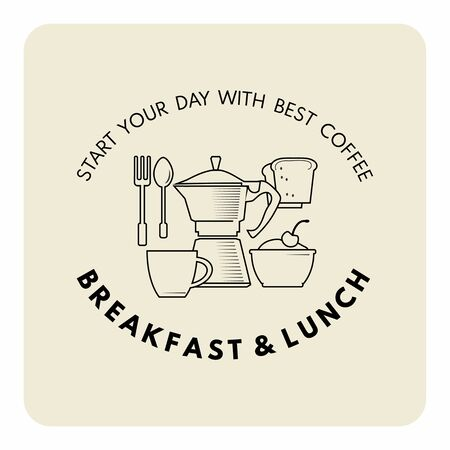 Breakfast and lunch decorative composition in outline style for cafe and restaurant banner,menu. Coffe pot, cup,,folk, spoon, toast and typography. Standard-Bild - 127864510