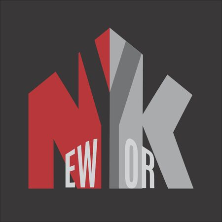 New York .Lettering typography.Red and gray letters on dark background. Vector illustration. Standard-Bild - 127864511