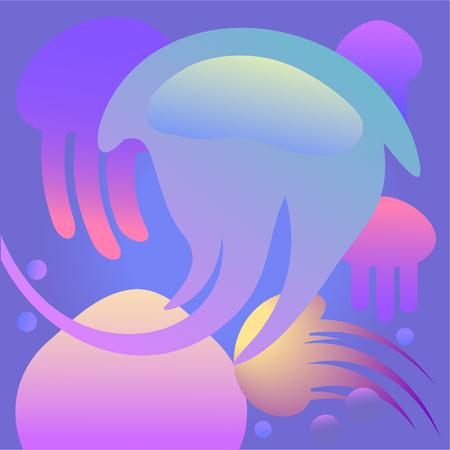 Jellyfish 3d background. Colorful decorative shapes in blue ocean depth. Vector illustration. Standard-Bild - 124137085