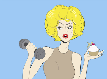 Pop art beautiful woman holding cupcake and dumbbell. Colorful illustration in comic style. Illustration