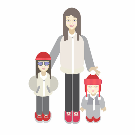 Cute young mother standing with her two children.Daughter in stylish sunglasses and baby boy in overalls . Standard-Bild - 123632379