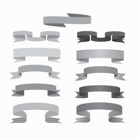 Set of smooth and textured ribbons. Grey and dark grey ribbons and banners for your design. Standard-Bild - 123254732