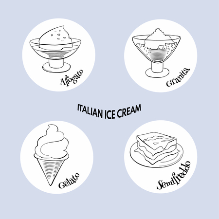 Doodle set of Italian ice cream. Hand drawn sketch of traditional desserts. Vector illustration on blue background. Standard-Bild - 122977572