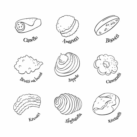 Doodle set of Italian sweets. Hand drawn sketch of traditional desserts. Vector illustration on white background. Standard-Bild - 121485499