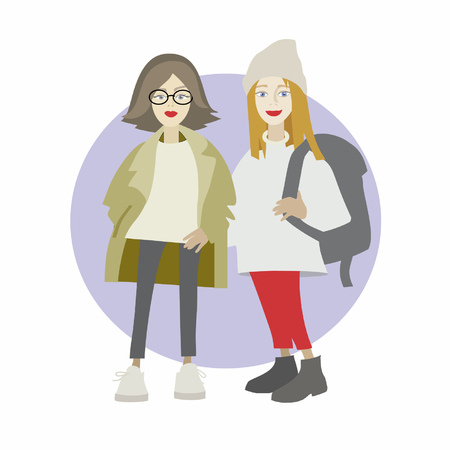 Two cute hipster girls standing in glasses and hat with backpack. Vector illustration in cartoon style. Illustration