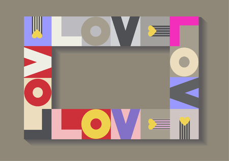 Love. Decorative frame with colorful letters for photo, invitations and romantic greeting cards. Standard-Bild - 122790764