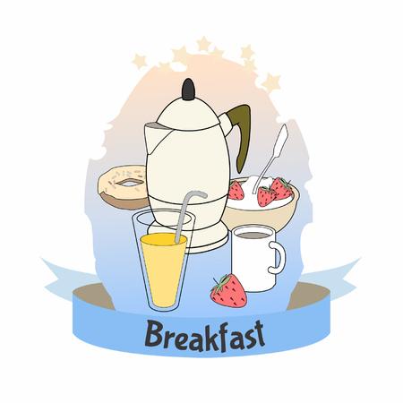 Poster of breakfast food. Coffee pot, porridge with strawberry and orange juice. Vector illustration on white background. Standard-Bild - 122619078