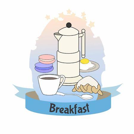 Breakfast Poster.Coffee pot, croissant, macaroon and egg. Colorfool vintage illustration. Standard-Bild - 127864514