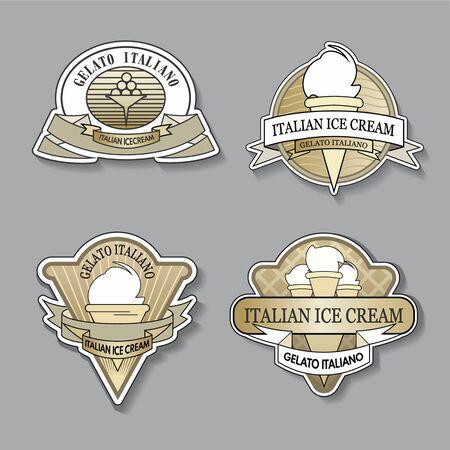 Set of golden ice cream shop logo in vintage style. Vector illustration.