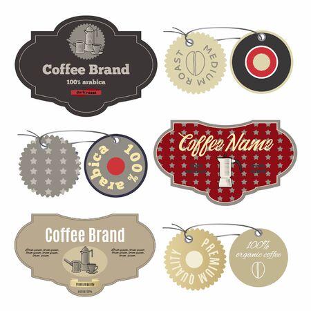 Coffee labels design template set in vintage style. Standard-Bild - 127864529