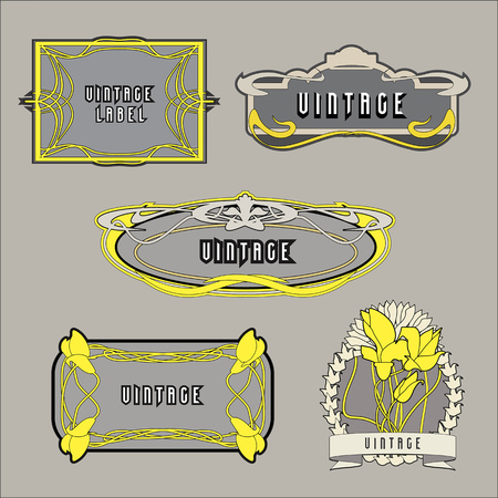Set of vintage labels in Art Nouveau style.