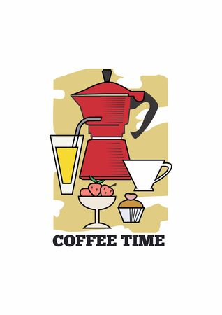 Vector poster with coffee pot, desserts and fruits. Standard-Bild - 127864530
