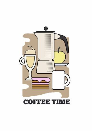 Vector poster with coffee pot, desserts and fruits. Standard-Bild - 127864531