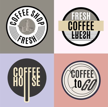 Set of coffee house logo. Vintage illustration. Standard-Bild - 127864584