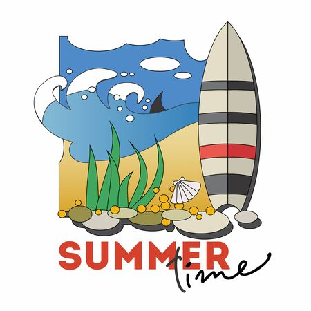 Summer time banner. Cartoon style vector illustration. Standard-Bild - 127864587