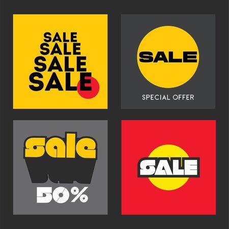 Sale poster set. Tamplate design for advertising. Vector illustration. Standard-Bild - 127864586