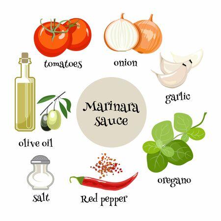 Zestaw składników do włoskiego sosu Marinara. Pomidory, cebula, czosnek, oregano, oliwa, papryka czerwona i sól do przygotowania sosu pomidorowego. Ilustracja kreskówka. Ilustracje wektorowe