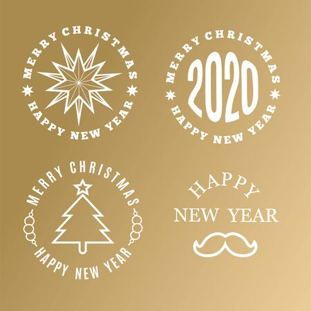 Merry Christmas and New Year logo collection. Vector illustration.