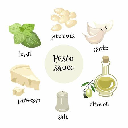 Italian Pesto sauce ingredients. Cartoon vector illustration 矢量图像