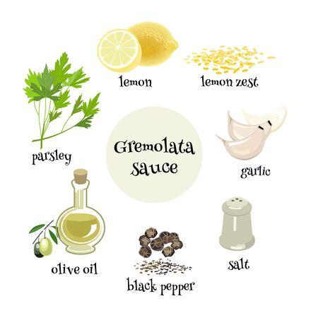 Set of Italian Gremolata sause ingredients. Parsley, garlic,lemon, olive oil, black pepper and salt for preparation of traditional sauce. Cartoon illustration. Illusztráció