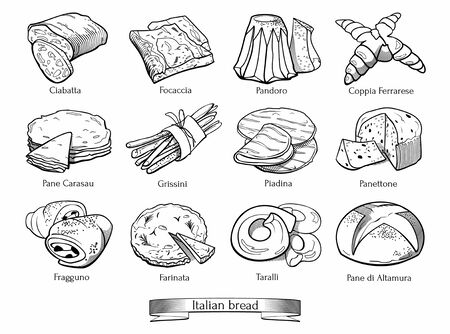 Collection of traditional Italian types of bread. Hand drawn sketch in doodle style. Illusztráció