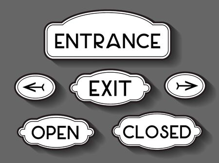 Entrance, exit, open, closed text and arrows signs. 向量圖像