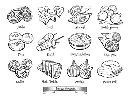 Collection of traditional Indian desserts. Hand drawn sketch in doodle style.
