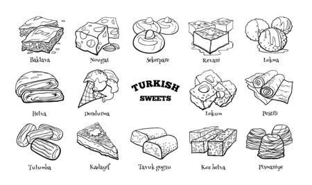 Collection of traditional Turkish desserts. Hand drawn sketch in doodle style.
