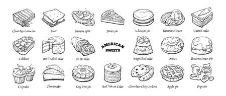 Gran conjunto de doodle de dulces americanos. Boceto dibujado a mano de postres tradicionales. Ilustración vectorial sobre fondo blanco.